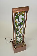 """Stained Glass Home Fountain Indoor Rock Waterfall 46"""" with Lights"""