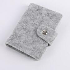 Color Gray Small Card Holder Case Business Card ID Card Button Lock Storage Case