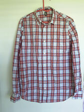 14th & UNION MEN'S SIZE M  CHECKERED LONG SLEEVE COLLARD SHIRT, NON-IRON