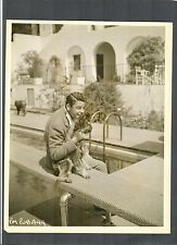 PAUL MUNI AT HOME BY HIS POOL WITH HIS DOG - VG-EX 1930'S PHOTO - OSCAR WINNER