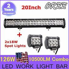 "20""INCH 126W + 2X 18W SPOT FLOOD COMBO CREE LED WORK LIGHT BAR OFFROAD BOAT HT"
