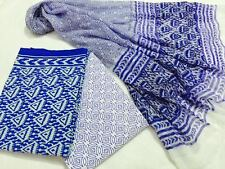 Cotton Bagru dress material for Salwar kameez in blue with white triangles