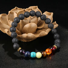 Man's Black Holes Lava Agate Buddha Beads Unique Multi-Colors Bangle Bracelets