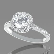 1 CT Halo Diamond Engagement Ring Round D/VS2 18K White Gold Enhanced Size 5 6 7