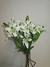 12 Lilien 60 cm weiß Kunstblumen Lilie künstlich Seidenblumen Floristik wie echt