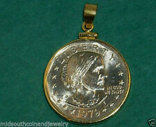 Coin Jewelry Pendant SUSAN B. ANTHONY 1/20th 14K Gold Bezel Soldered Bail