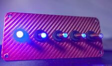 RED 3D WRAP CARBON FIBER PANEL w/ LED toggle switches - BLUE