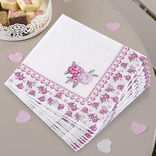 20 x Stile Vintage Shabby Chic Tovaglioli abbastanza floreale Festa Tovaglioli Rose Rosa