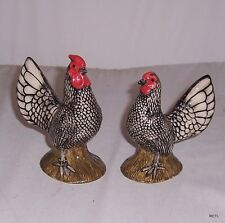 QUAIL Seabright Silver Cockerel & Hen Salt & Pepper Cruet Set