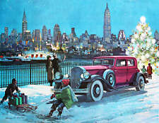 vintage art Christmas winter City Scene old car tree children sled