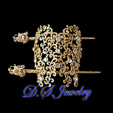 Exquisite Clear Swarovski Rhinestones Hollow Lacy & Golden Dragon Hair Pin