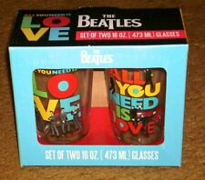 THE BEATLES SET OF 2 ALL YOU NEED IS LOVE 16 oz.  GLASSES NEW IN BOX
