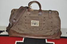 Ralph Lauren RRL Distressed Leather & Canvas Boxcar Duffle Bag