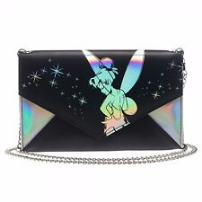 Disney Tinkerbell Iridescent Envelope Wallet  with Chain Satchel Clutch Purse