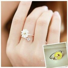 Silver Tone white daisy gem Open Ring 50s 60s Style Retro Vintage Jewelry