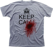 Keep Calm and blood SHOT SPLATTER vero divertente HORROR Bianco T-shirt di Cotone 09935