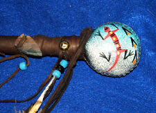 "Native American Rawhide BALL Rattle Hand Painted Lizard 15"" L Navajo Artifact B4"