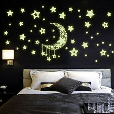 QT-0068 Luminous Sstickers /Fluorescent Stickers/ Moon And Stars/Wall Sticker
