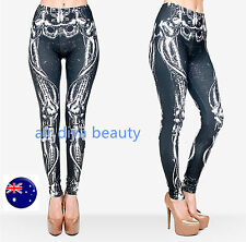 Women Halloween Party Skull Skeleton Bones Costume Gothic Skinny Leggings Pants