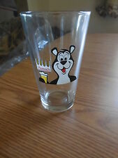 (L@@K) HAMMS BEER 16oz PINT GLASS WITH THE BEAR FROM SKY BLUE WATERS HAMM' RARE