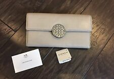 COACH Clutch Trifold Wallet Tan Sand Nude Snap Zip Genuine Leather NWT $238.00