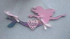 Filles personnalisé rose paillettes sirène chambre à coucher/nursery signe plaque nom