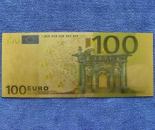 100 Euro Bank Exercises  Training Coloured 24K Gold Foil Paper Money