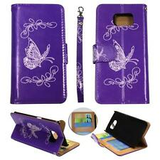 For Samsung Galaxy S6 Edg Ck Wallet Silver Butterfly Purpl Cover Case Un Leather