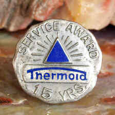 VINT ENAMELED STERLING SILVER THERMOID 15 YR SERVICE PIN DATED 1934 TRENTON NJ