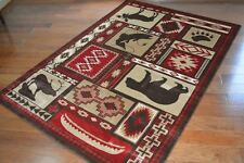 5X8 Lodge Cabin Area Rug Brown Red Beige Rustic Bear Fish Trout Moose Canoe Paw
