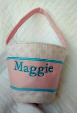"""Pottery Barn Kids Pink Fabric GIRL Easter Basket Bucket Embroidered """"Maggie"""""""
