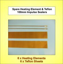 6x Brand New - 100mm Spare Heating Elements & Teflon Strips for Impulse Sealers