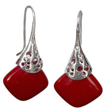 PRETTY Coral Sterling Silver Dangle Cushion Earrings