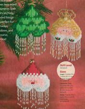 BEADED CHRISTMAS ORNAMENTS SANTA ANGEL PLASTIC CANVAS PATTERN INSTRUCTIONS