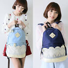 New Women Vintage Lace Jeans Backpack Bag Schoolbag Tote Handbag Campus Cute