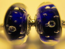 Set 2 Authentic Silver 925 ALE Dark Blue Effervescence Pandora Murano Bead Charm