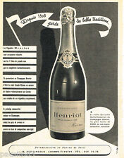 PUBLICITE ADVERTISING 085  1956  Le champagne  HENRIOT