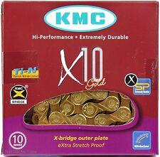 KMC X10 GOLD Ti-N 10-Speed Bike Chain XSP 116-Links fits Road MTB / SRAM Shimano
