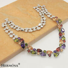 "Xmas Sale AMETHYST MORGANITE PERIDOT RUBY 925 Sterling Silver Necklace 19"" PL201"