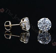 4 Ct Created Diamond Stud Earrings Round Cut Screwback Solid 14K Yellow Gold