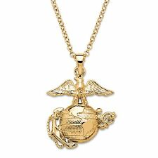 PalmBeach Jewelry Marine Corps Pendant Necklace 14k Gold-Plated 20""
