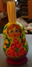 "russian wood  toothpick hand painted doll 3.5"" #4"