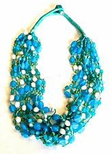 VINTAGE Designer Turqoise CABOCHON POURED GLASS NECKLACE
