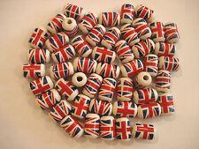 40x forma de cilindro de Unión Jack cuentas de cerámica hecho a mano para Artesanía/fabricación de joyas