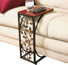 Chair Side End Table Small Vintage Brown Wood Color Stainless Steel Metal Coffee