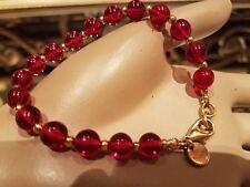 VINTAGE RARE 80's-90's GUCCI Red GRIPOIX CABOCHON POURED GLASS BRACELET SIGNED