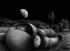 A4 Poster - Pencil Sketch of a Dead Astronaut on the Moon (Picture Poster Art)