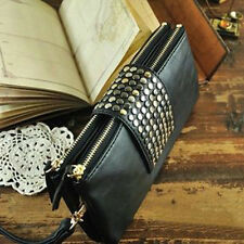 NEW Luxury Women Black Evening Handbag Girl PU Leather Clutch Purses Wallet Bags