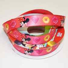 1 Metre Disney Minnie Mouse Clubhouse Spotty Buttons 15mm Satin Craft Ribbon