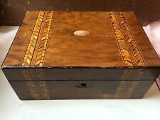 vintage inlaid wooden sewing box inner tray contents 18x sylko cotton thread